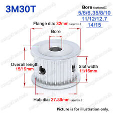 3M 30 Teeth Timing Pulley Idler without Bearing 5-15mm Bore for 10/15mm Belt