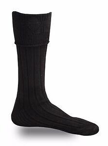 Black Men's Scottish Highland Wear Kilt Hose Socks S/M/L/XL