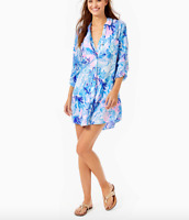 Lilly Pulitzer Women's Natalie Shirtdress Cover-Up - Saltwater Blue Shade Seeker