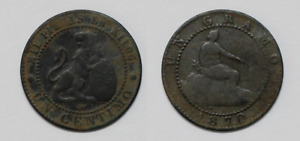 Currency 1 Penny 1870 Government Provisional Spain Ecsc Om Barcelona
