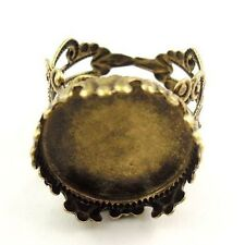 12pcs Wholesale Antiqued Bronze Brass Filigree Ring Setting Post Adjustable Size