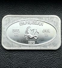 Vintage Zodiac Capricorn Dec. 22 - Jan. 10 1 oz .999 Fine Silver Bar (9080)