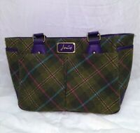 """Gorgeous 10""""x14"""" Joules green plaid tweed purse with purple accents/straps"""