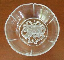 "Tiffany 8"" Crystal Intaglio Ribbon Fruit Nut Pine Cone Scalloped Bowl"