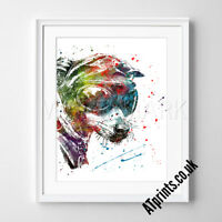 Dog Animal Print Poster Watercolour Framed Canvas Wall Art Carl and Ellie gift