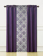 3 Piece Window Treatment Set 2 Faux Silk& 1 Printed Voile/sheer Panel  (Purple)