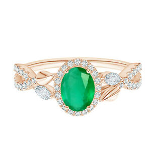 Nature Inspired Oval Emerald Gemstone Stackable Ring 9K Rose Gold