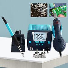 Digital Smd Soldering Iron Hot Air Heat Gun Desoldering Rework 2in1 Station Us