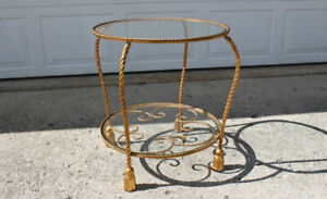 Italian gilt iron rope twist & tassel round end / side table Hollywood Regency