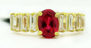AAA 1.23 Cts RUBY & WHITE SAPPHIRE RING 14K GOLD ** New With Tag **