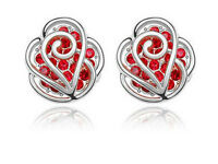 Silver Red Roses Rhinestones Crysta; Women Studs Earrings E232