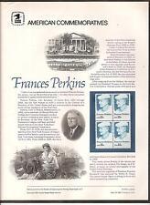 # 1821, 15-Cent FRANCES PERKINS U.S. SECRETARY OF LABOR 1980 COMMEMORATIVE PANEL