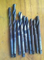 """9 pcs P&N Sutton ESC HSS Morse MTS 1 Drills: 11/32"""" to 1/2"""",17/32"""""""