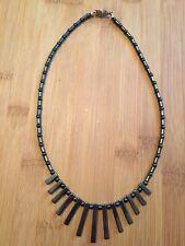 Necklace Fringe Healing Stone Silver Gc Vintage Hematite Black Grey Bead Pendant