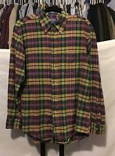 Pendleton Plaid Button Down Multicolor 100% Cotton Long Sleeve Shirt Size Medium