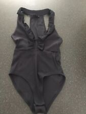 Ladies Navy Blue Ribbed Cut Away Body Suit Topshop 8