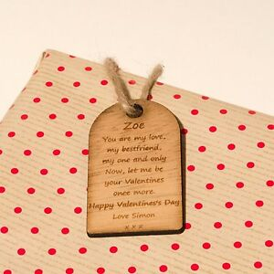 Rustic Wooden Valentine's Day Gift Tag With Engraved Personal Message.