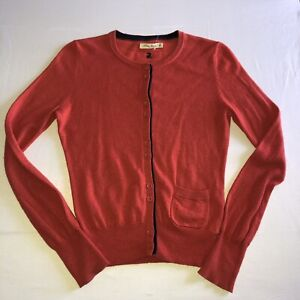 JOULES Ladies Size 10 Button Up Cardigan Woollen Long Sleeve Ada Ruby Red VGC