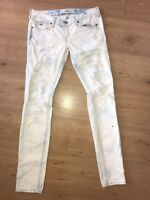 EUC 0 R Hollister Distressed Skinny Jeans Denim Bleached Destroyed Pant Holes