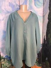 Roman's Plus 20W New Turquoise Button Down Lace Neck Hi-Lo 3/4 Sleeve Tunic Top