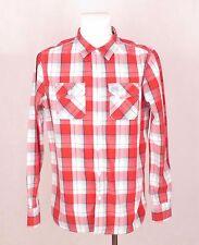 Camisa de manga larga para hombre Washbasket de la camisa informal de algodón Cuadros Azul Rojo XL