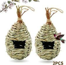 2PCS Outdoor Grass Handmade Hanging Birdhouse Pet Straw Bird Decoration