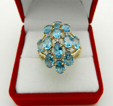 Beautiful 14k Yellow Gold Cocktail Cluster Blue Topaz Ring with Diamond Accent