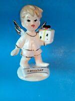 Vintage Ceramic Boy Birthday Angel December Christmas Figurine - Hard to Find
