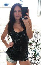 OLD NAVY BLACK SEQUIN TANK one size XL top singlet sparkling weekend evening NEW