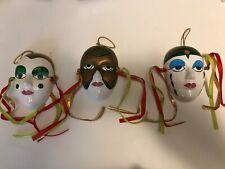 Set of 3 Face Mask 4in Ceramic Wall Hanging Art Mardi Gras Miniature Masquerade