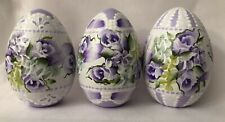 Hand Painted Easter Eggs Wood Roses Hydrangeas Shabby Lace Chic HP Victorian