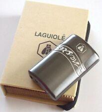 Laguiole Aubagnan Elegantes Sturmfeuerzeug mit grüner Flamme Geschenkbox grey!