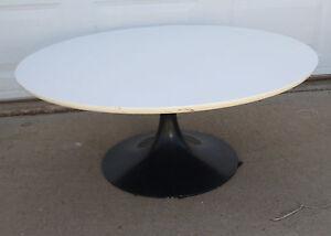 Vintage Burke Tulip Coffee End Table 35-1/2 inch Diameter Dark Blue Base 16in T