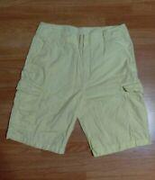 Men's Nautica Jeans Co Light Yellow 100% Cotton 7 pocket Cargo Shorts Size 34