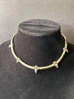 Unisex silver tone metal link spike choker necklace