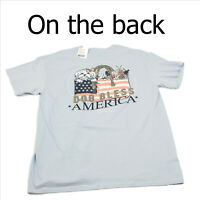 NWT Itsa Girl Thing Dog Bless America Blue T-Shirt Large