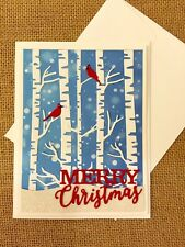 Handmade Christmas Card Snowy Trees w/ Cardinals ~ made w/ Stampin Up & other pr