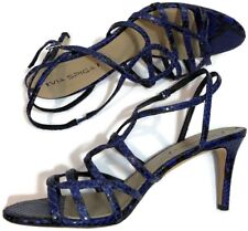 VIA SPIGA Womens Blue Snake Print Leather Strappy Sandals Sz 9 40