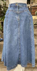 Vintage 90's Jones Sport- Gored Faded Blue Denim Flared Midi Skirt- size 10
