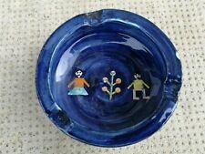 Cendrier céramique design Oriental? decor art naïf, signé ashtray pottery