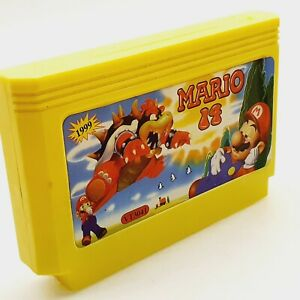 Mario Famicom Famiclone Yellow Cartridge 60 pins tv console game vintage