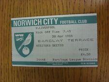 20/04/1988 Ticket: Norwich City v Liverpool [Football League Championship Season