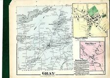 1871 Map of Gray, Maine, from Beers' Cumberland County Atlas - w/family names