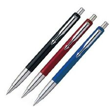 Red Parker Vector Standard Ballpoint Pen Chrome Stainless Steel, Blue Refill