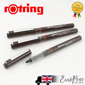 Set of 3 Black Rotring Tikky Graphic Black Fineliners Pen Stationery .3 .5 .7 🖊