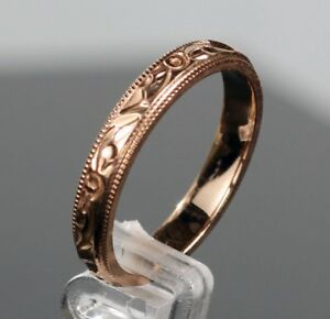 Hand Engraved 14k Rose Gold 3MM Wide Wedding Band Ring with Antique Design 5678