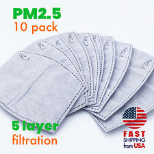 [10 PACK] PM2.5 Activated Carbon Filter 5 Layer Replaceable Face Mask Safety