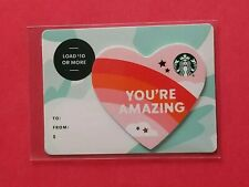 2019 Starbucks 'You're Amazing' Heart Shaped Reloadable Gift Card Empty RARE