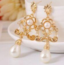 2015 Bridal Bridesmaid Gold drip flower crystal pearl bead leaf stud earrings AA