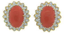 c.1980s DAVID WEBB CORAL DIAMOND YELLOW GOLD EARRINGS Signed Authentic Chic